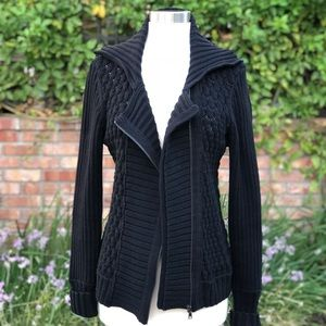 Cable knit zip up sweater